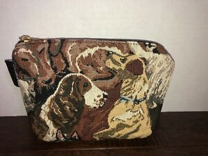 EUC-Small-Tapestry-With-Dogs-Hand-Purse-Or-Makeup-Bag-With-Coin-Purse