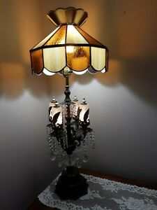 Antique-Victorian-French-Parlor-Lamp-Slag-Glass-Crystals-Prisms-39-034-Tall-Heavy
