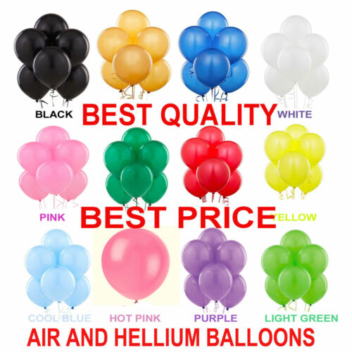 """10/"""" INCH Latex Balloons Helium /& Air Quality Ballons COLOURS Baloons Birthday"""