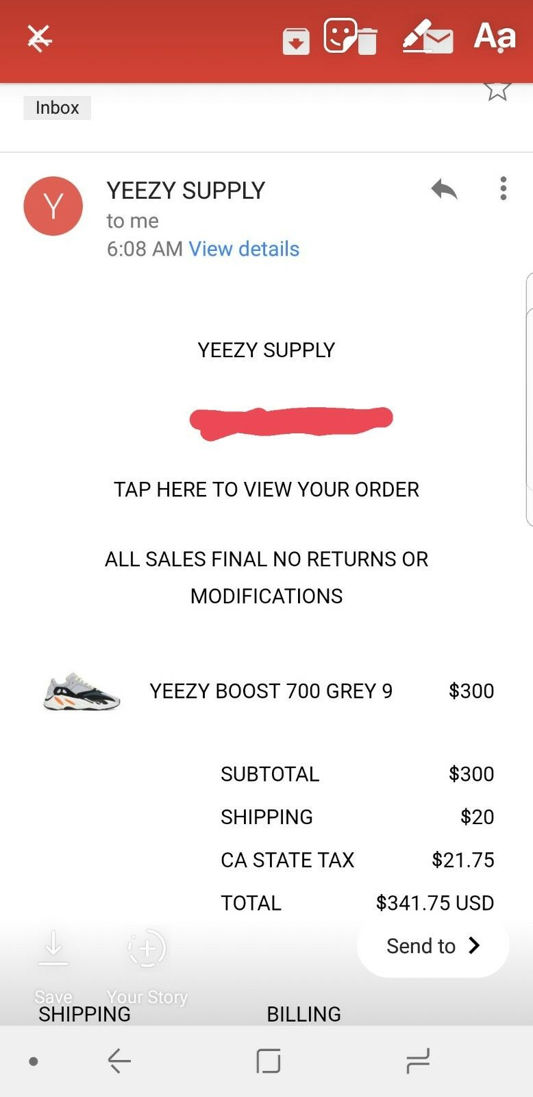 Adidas Yeezy Boost 700 WAVE RUNNER Size 9 CONFIRMED from YEEZYSUPPLY