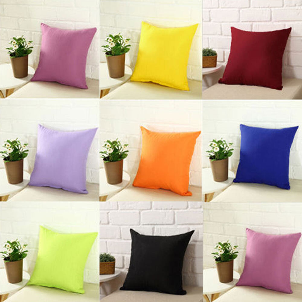 plain solid color throw pillow case home