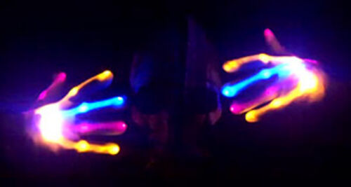 Electro Skeleton PINK BLUE ORANGE LED Light Up HALLOWEEN Dance Gloves Rave Party
