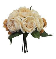 Khaki Beige Cabbage Rose Hydrangea Bouquet Silk Wedding Flowers Centerpieces