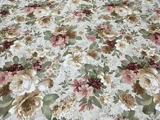 "Richloom Shabby Chic Cabbage Rose Fabric 54"" X 8 Yards Ivory Pink Red Green"