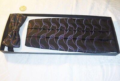 * Uomo Retro & Fascia Dello Smoking Papillon Nero Con Motivo Sobrio Tedesco Tie Rack S-l-mostra Il Titolo Originale