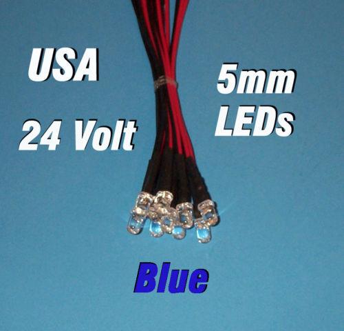 5mm PRE WIRED LEDS 24 VOLT BLUE 24V DC PREWIRED 10 x LED