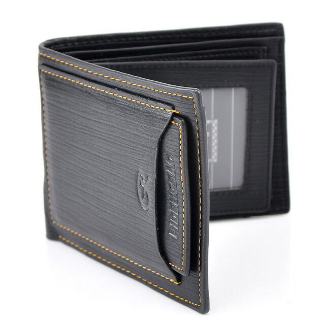 Men Wallet Pockets Money Purse ID Credit Card Clutch Bifold Black PU