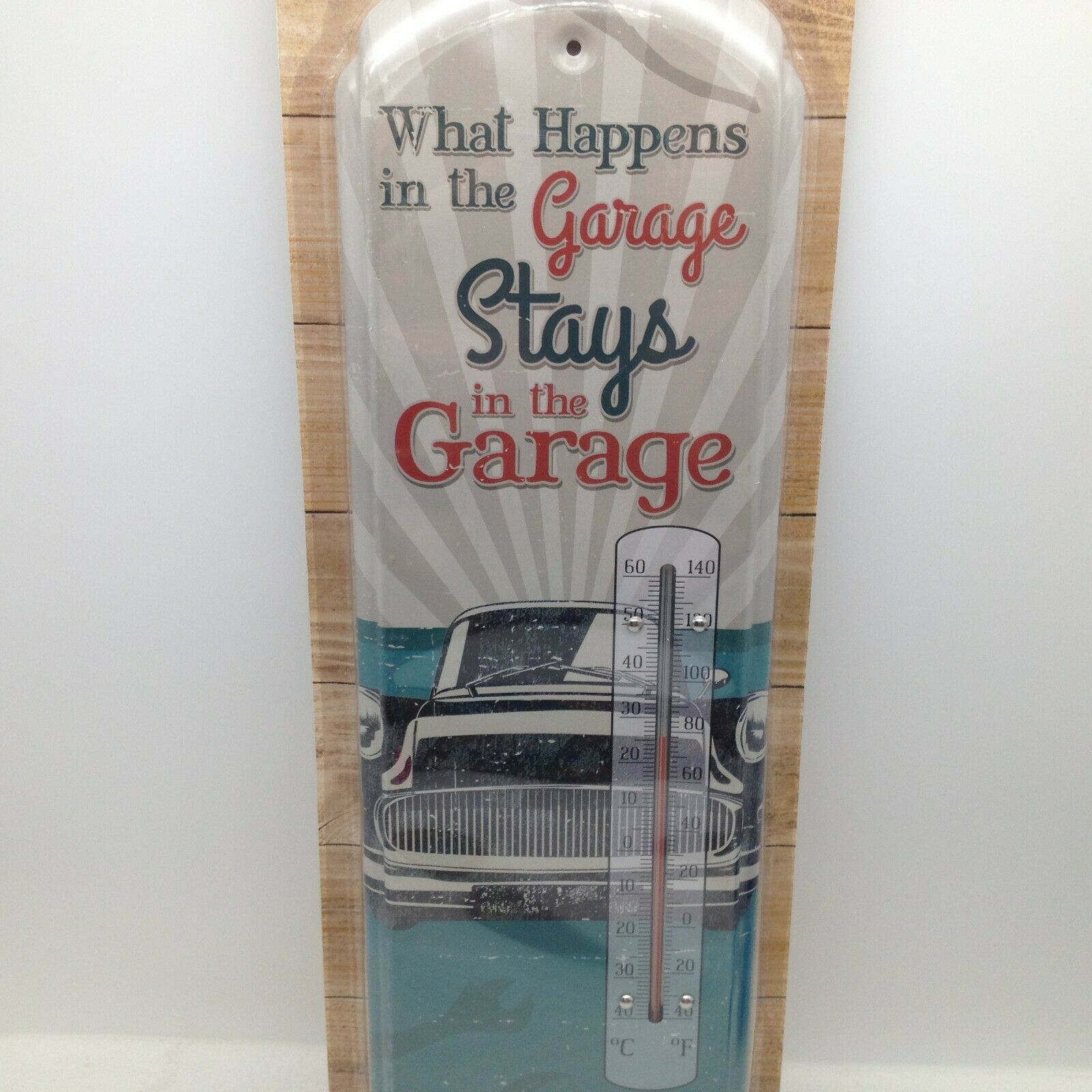 What Happens in the Garage Stays Indoor Outdoor Thermometer Metal 17.5 in Tall