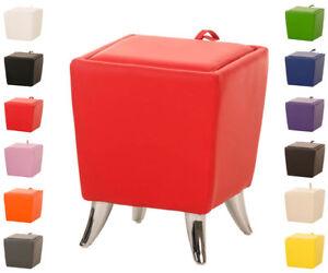 Sitzhocker-ROXY-Kunstleder-Sitzwuerfel-Hocker-Aufbewahrungsbox-Stauraum-Farbwahl