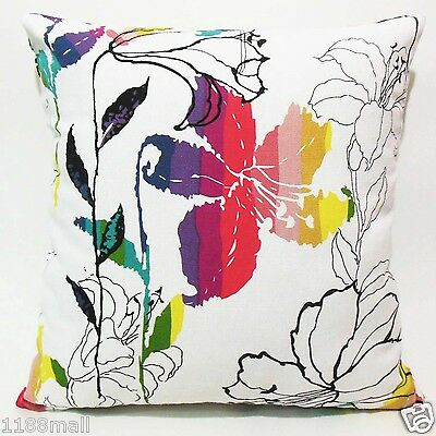 FFA-105 LILY ON WHITE Quality Canvas Pillow Cushion Cover Custom Size