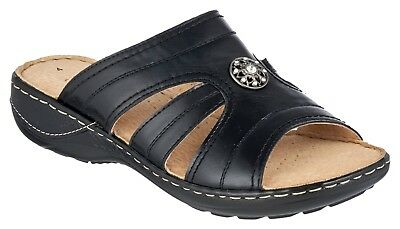 Ladies Womens Flat Wedge Heel Wide Fit Slip On Summer Mules Sandals Shoes Size