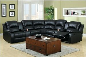 Image Is Loading Black Bonded Leather Sectional Sofa Cup Holder Storage