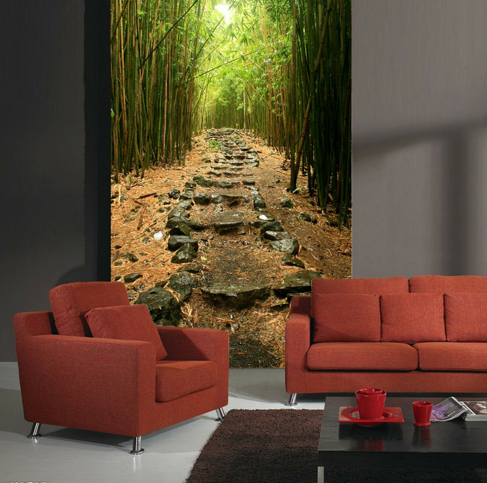 3D bamboo forest road Wall Paper wall Print Decal Wall Deco Indoor wall Mural