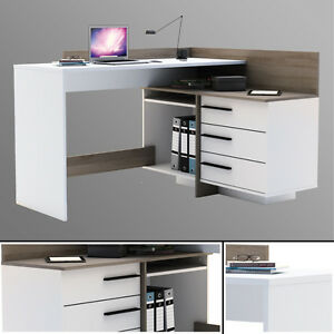 eck schreibtisch eiche wei schreibtisch computertisch eckschreibtisch pc tisch ebay. Black Bedroom Furniture Sets. Home Design Ideas