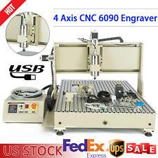4 Axis 6090 Cnc Router Engraver Usb Milling Engraving 2200w Vfd Desktop Machine