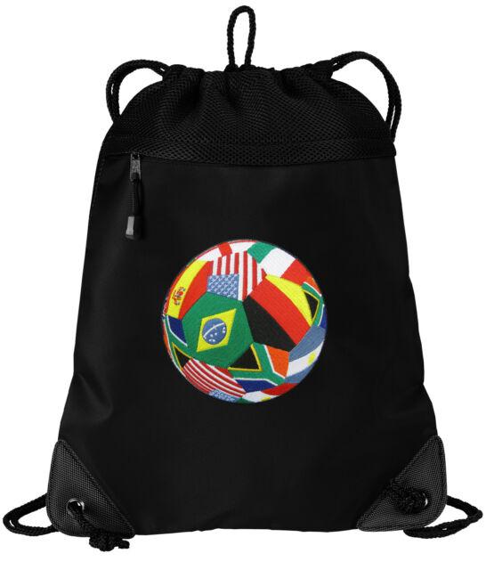 Soccer Drawstring Bag World Cup Fan Backpacks Mesh Microfiber