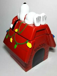 50th Anniversary Peanuts Christmas Teleflora Snoopy Doghouse Ceramic Cookie Jar