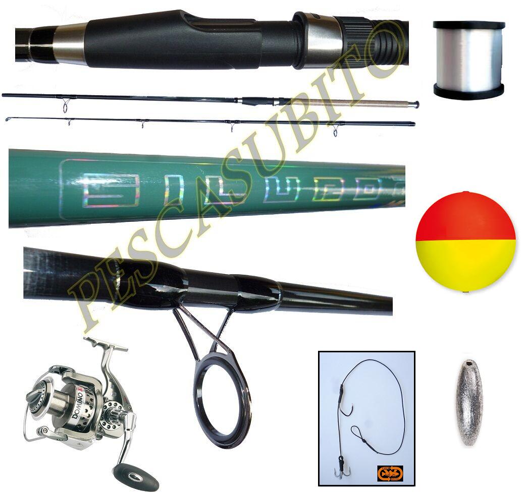 Kit Pesca al Siluro Canna 2.70Mt  Mulinello Domino Filo Boa Montatura Piombo TP