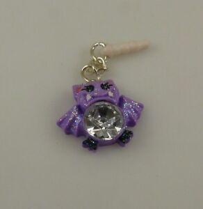 Halloween-purple-glitter-bat-bling-Cell-phone-Charm-ear-cap-dust-caps-purse