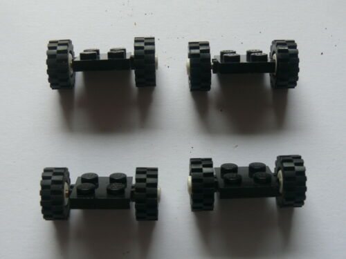 Lego 4 roues simples noires 4 black plate with tire and white wheel