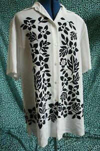 Yarell-Vintage-Oversized-Hawaiian-Tikki-Blouse-Shirt-UK-12-38-rockabilly-white