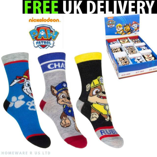 3 x Black//Red Ankle Socks For Boys PAW PATROL NICKELODEON