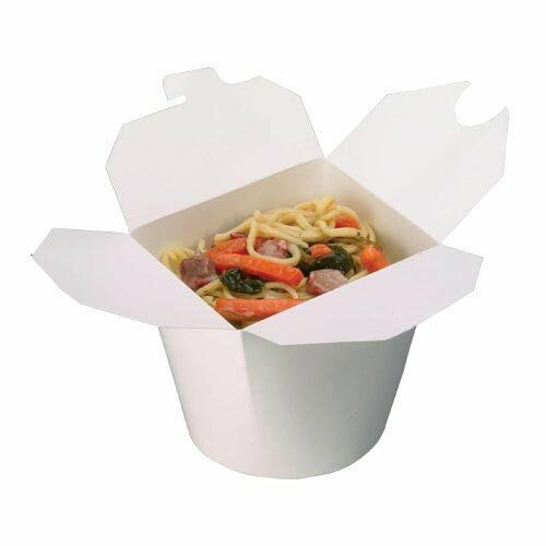 500 White 32oz Round Paper Noodle Pots Containers Rice Curry Takeaway Food Pail