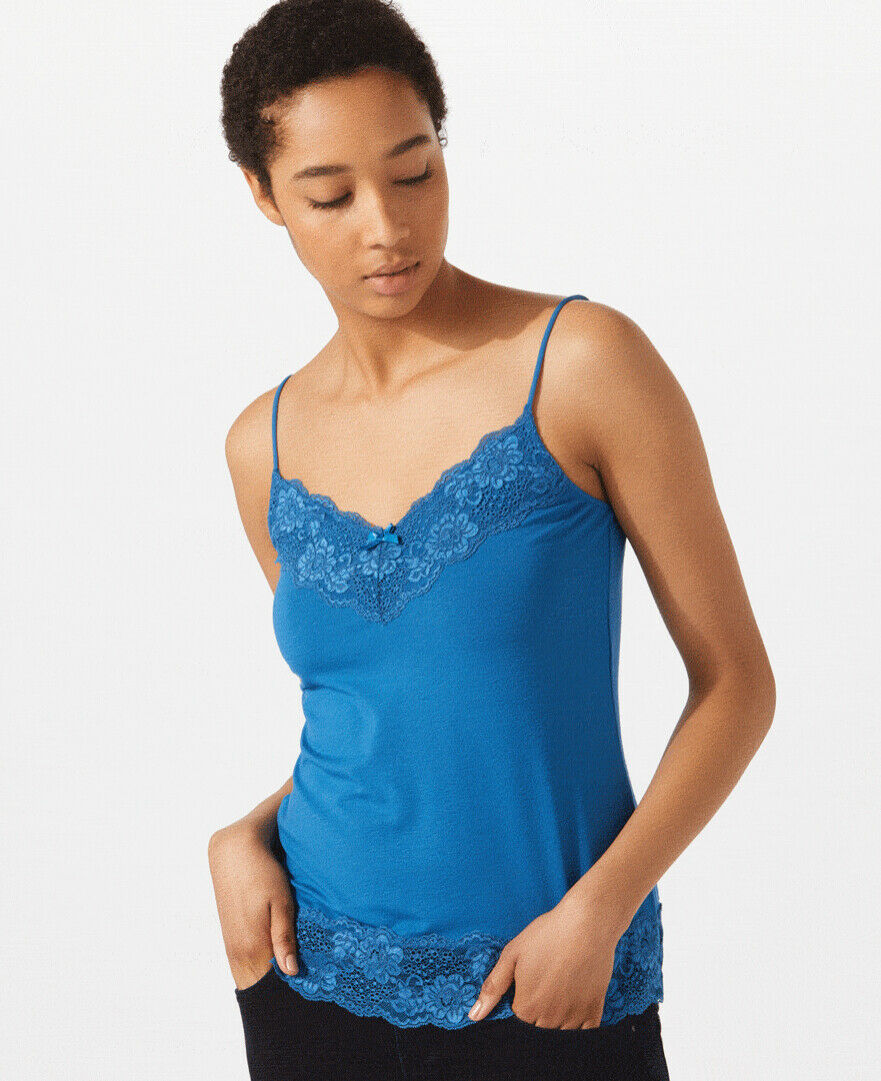 JIGSAW Women's Lace Vest   Cami Top - Sapphire bluee - Brand New tagged - Size S