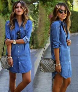 da96d8944e1e1 Womens Ladies Girl Lapel Denim Tops Long Sleeve Shirts Blouse Jeans ...