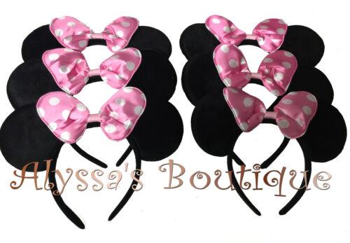 20 Pcs Minnie Mouse Ears Headbands Black Pink Polka Dot Bow Birthday Party CUTE