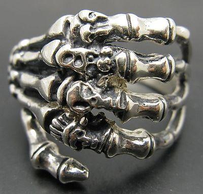 Sterling Silver Biker Ring Genuine Solid Hallmarked 925 Devil Skull Handmade
