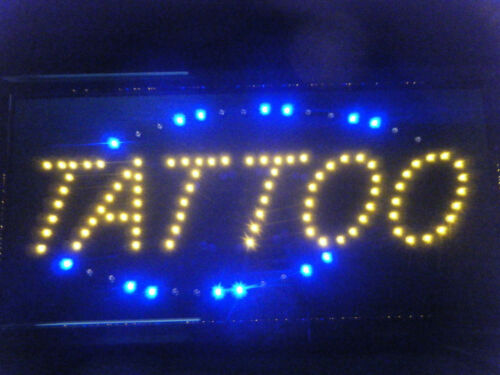 LED SHOP WINDOW HANGING FLASHING NEON DISPLAY SIGN OPEN TATTOO 48cm x 24cm UK
