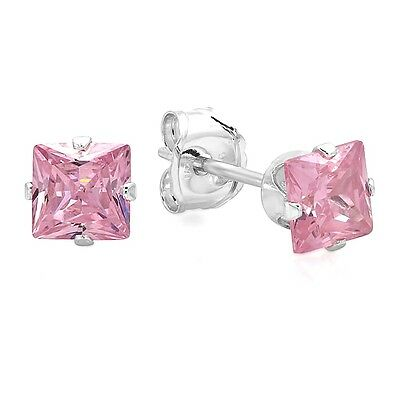 925 Sterling Silver 4*4 mm Princess Cut Light Pink Cubic Zirconia Stud Earrrings