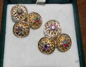 Cute-Vintage-Marquise-AB-Rhinestones-Silver-Tone-Fruit-Clip-Earrings-Coro
