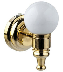 Dollhouse-Miniature-LED-White-Globe-Wall-Sconce-1-12-Scale