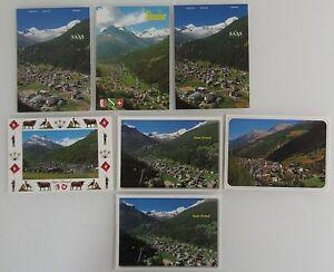 Postkarten-Lot-Schweiz-7x-SAAS-Grund-Kanton-Wallis-AK-mit-Helvetia-Briefmarken