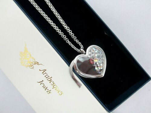 CRYSTAL /& CZ ARABESQUES CHARM POTS MEMORY//FLOATING PENDANT//NECKLACE ROSE GOLD
