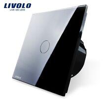 SET aus 3 Touch EIN/AUS 1 Gang Lichtschalter Livolo Schwarz Kristall Glas LED