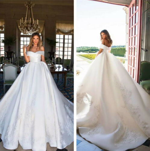 Boho Cathedral White Ivory Wedding Dresses Bridal Gowns Off Shoulder Sweetheart