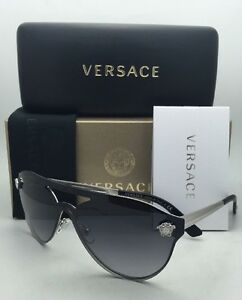 acc9526c96c98 New VERSACE Sunglasses VE 2161 1000 8G Silver   Black Frame w Grey ...
