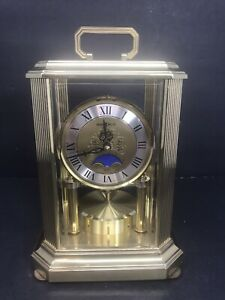 Howard-Miller-Brass-Metal-Mantle-Mantel-Table-Clock-West-Germany-FOR-PARTS-READ