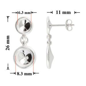 Sterling Silver Pull Thru Threader Stud Earrings for Gluing 1088 Chaton Crystals