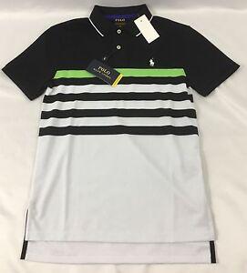 Ralph lauren men performance sport polo shirt black white for Mens lime green polo shirt