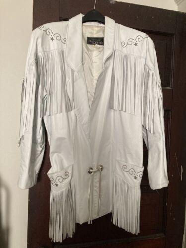Outerwear By Phoenix White Leather Fringe Jacket S