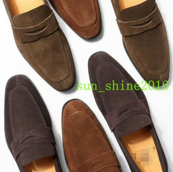 England Mens Slip OnTassel Leather Loafers Suede Dress shoes Square Toe shoes