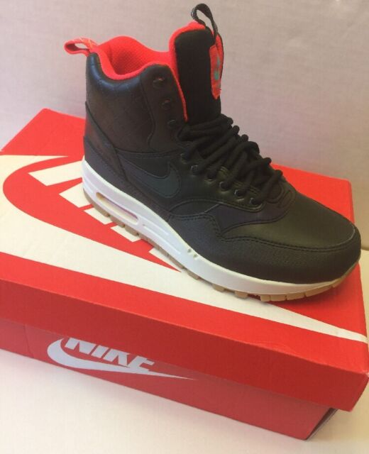 NIKE Air Max 1 Mid Black Dark Grey Volt Sneakerboot Lifestyle Shoes NEW Womens 7