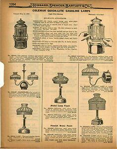 1926 Paper Ad 3 Pg Coleman Quick Lite Gas Gasoline Lamp