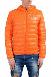 Emporio-Armani-EA7-Men-039-s-Orange-Duck-Down-Full-Zip-Hooded-Light-Parka-Jacket