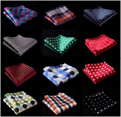 Check Polka Dot Striped Mens Silk Pocket Square Hanky Wedding  Handkerchief #B10