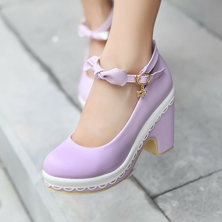 Women Block Heels Mary Jane Bow Knot Ankle Buckle Platform Pumps Lolita Shoes